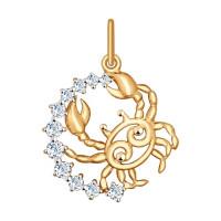 Золотой знак зодиака «рак» с фианитами ДИ035126