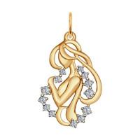Золотой знак зодиака «дева» с фианитами ДИ035128