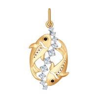 Золотой знак зодиака «рыбы» с фианитами ДИ035135