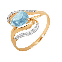 Золотое кольцо с топазами и фианитами ЮПК1344669тг