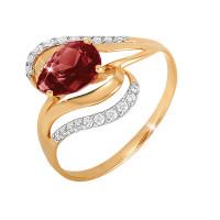 Золотое кольцо с гранатами и фианитами ЮПК1344669гр