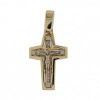 Золотой крест с бриллиантами БТ11-0025