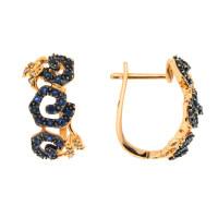 Золотые серьги с бриллиантами и сапфирами ЛВ1571САЕ4РТА11
