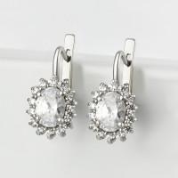 Серебряные серьги с фианитами 4МС146