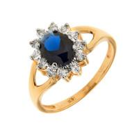 Золотое кольцо с бриллиантами и сапфирами КРК3213160/91