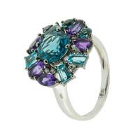 Золотое кольцо с бриллиантами, аметистами и топазами ЮЕР26875