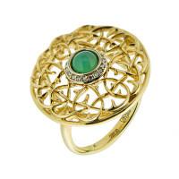 Золотое кольцо с бриллиантами и хризопразами
