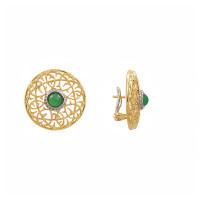 Золотые серьги с бриллиантами и хризопразами ИА22399