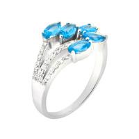 Серебряное кольцо с топазами, хризолитами и цитринами