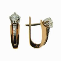 Золотые серьги с бриллиантами ЗВ028118