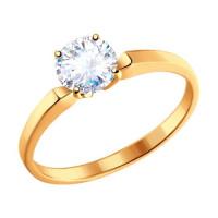 Золотое кольцо с фианитами ДИ010184