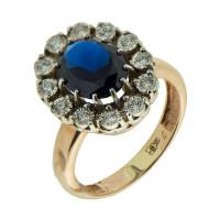 Золотое кольцо с бриллиантами и сапфирами КРК3214023/9