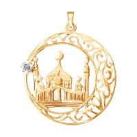 Золотая мечеть с фианитом подвеска для мусульман