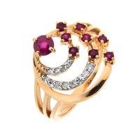 Золотое кольцо с бриллиантами и рубинами 1Р2511112