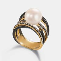 Золотое кольцо с бриллиантами и жемчугом ЮЕР38043-9