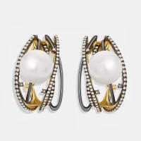 Золотые серьги с бриллиантами и жемчугом ЮЕЕ38043-6