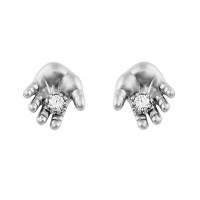 Серебряные серьги гвоздики с фианитами ИАС22150