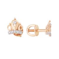 Золотые серьги гвоздики с фианитами ЮПС1328704