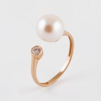 Золотое кольцо с жемчугом и фианитами 2БКЗ5К-10.01-0516-01