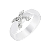 Серебряное кольцо с фианитами и керамикой ЮП1017010480Б