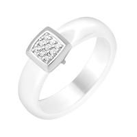 Серебряное кольцо с фианитами и керамикой ЮП1017010465Б