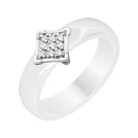 Серебряное кольцо с фианитами и керамикой ЮП1017010466Б