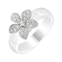 Серебряное кольцо с фианитами и керамикой ЮП1017010474Б