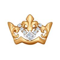 Золотая брошь с фианитами
