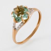Золотое кольцо с кварцем и фианитами ЮИК122-4912Квз