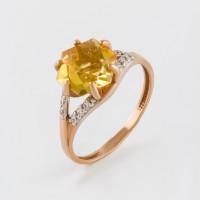 Золотое кольцо с кварцем и фианитами ЮИК122-4912Квл