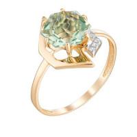 Золотое кольцо с кварцем и фианитами