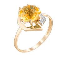 Золотое кольцо с кварцем и фианитами ЮИК122-4908Квл