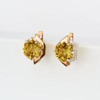 Золотые серьги с кварцем и фианитами ЮИС122-4908Квл