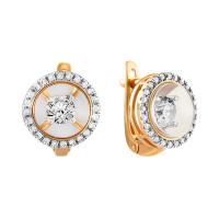 Золотые серьги с танцующими бриллиантами и ювелирным стеклом СН01-230110