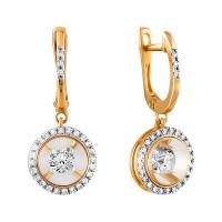 Золотые серьги подвесные с танцующими бриллиантами и ювелирным стеклом СН01-230111