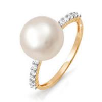Золотое кольцо с жемчугом и фианитами ДП111636