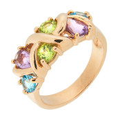 Золотое кольцо с аметистами, топазами и хризолитами ГС1350290
