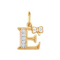 Золотая подвеска Буква Е с фианитами ДИ030654
