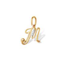 Золотая подвеска Буква М с фианитами ЮПП1321311