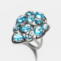 Золотое кольцо с бриллиантами и топазами ЮЕР49071А2С14ВБ001