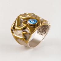 Серебряное кольцо с сваровски ПВР0137гл