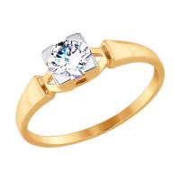 Золотое кольцо с фианитами ДИ017525