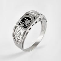 Серебряная печатка с ониксами и фианитами РЫ1524550С