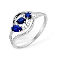 Серебряное кольцо с сапфирами гт и фианитами ЮП1021013095