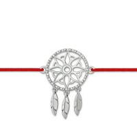 Серебряный браслет красная нить с фианитами ЮП1410011312