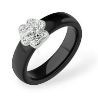 Серебряное кольцо с фианитами и керамикой ЮП1017010746Ч