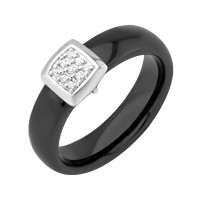 Серебряное кольцо с фианитами и керамикой ЮП1017010465Ч