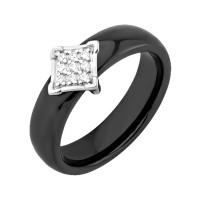 Серебряное кольцо с фианитами и керамикой ЮП1017010466Ч