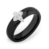 Серебряное кольцо с фианитами и керамикой ЮП1017010467Ч