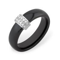 Серебряное кольцо с фианитами и керамикой ЮП1017010468Ч